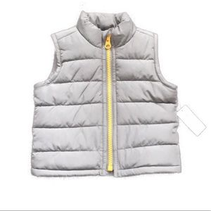 Old Navy Puffer Vest Fleece Lined 0-3 mo Grey NWT